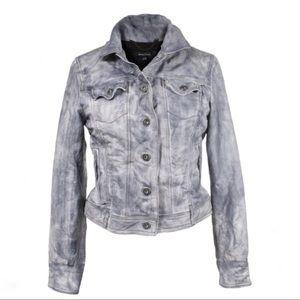 Muubaa Leather Maki Blue Grey Jacket